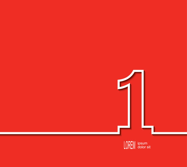 First place symbol. White number on red background. First place symbol. White number on red background. Vector illustration single object stock illustrations