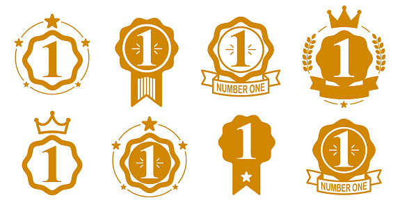 First place vector badge awards set, graphic design geometric simple emblems sticker number one collection, business success and victory theme labels, classical style icons.