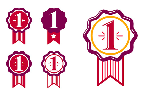 First place vector badge awards set, graphic design geometric simple emblem stickers number one collection, business success and victory theme labels, classical style icons.