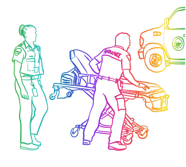 first responders on the run rainbow - first responders stock illustrations