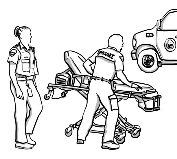 first responders on the run - first responders stock illustrations