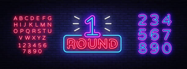 erste runde ist ein neon-schild-vektor. runden-1 kampf boxen, neon symbol gestaltungselement illustration neon hell, licht banner. vektor-illustration. bearbeiten von text-leuchtreklame - zahlenspiele stock-grafiken, -clipart, -cartoons und -symbole