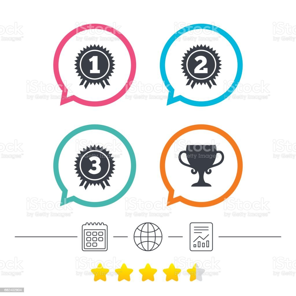 First, second and third place icons. Award medal. royalty-free first second and third place icons award medal stock vector art & more images of award
