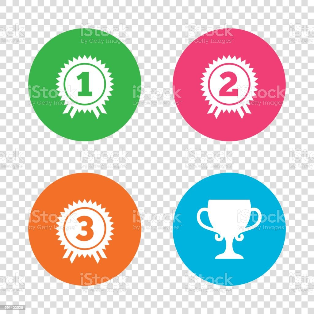 First, second and third place icons. Award medal. vector art illustration