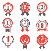 Vector of First, second and third place winner award medals set. EPS Ai 10 file format.