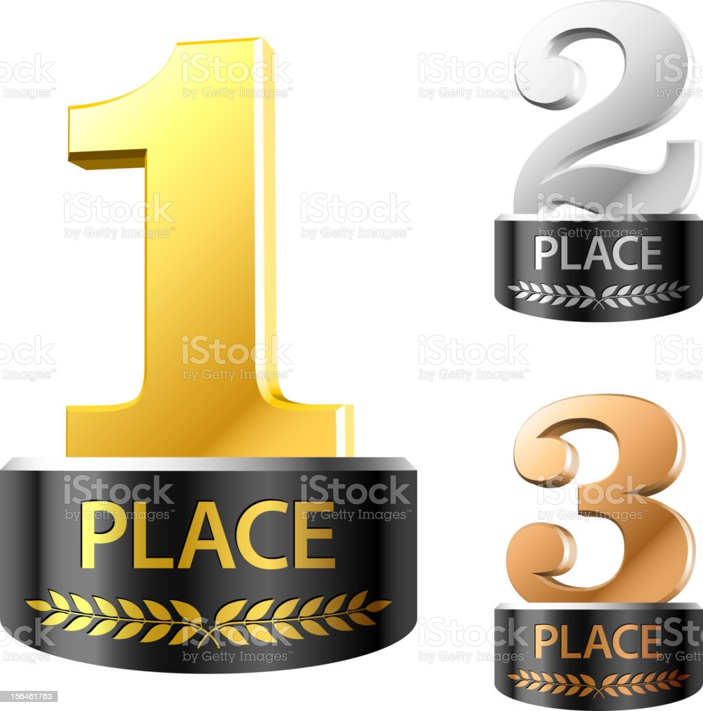 First, second and third places vector art illustration
