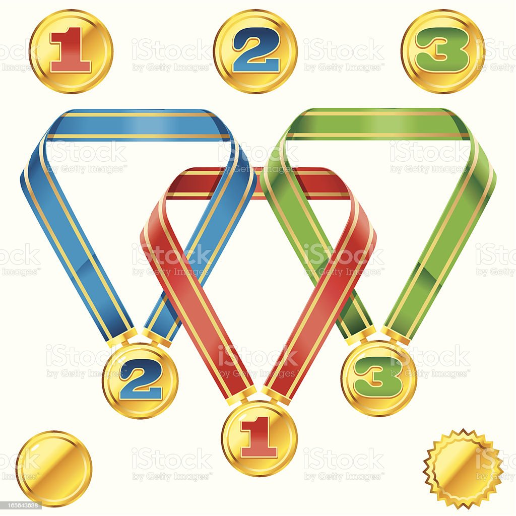 First, second,Third Medals royalty-free stock vector art