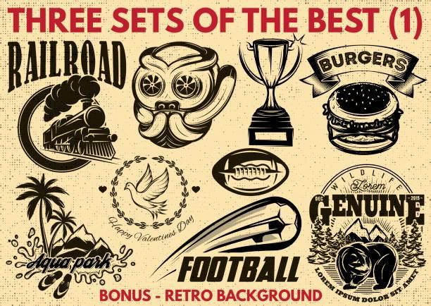 vektör desen çeşitli konularda retro logo için ilk seti - mountain top stock illustrations