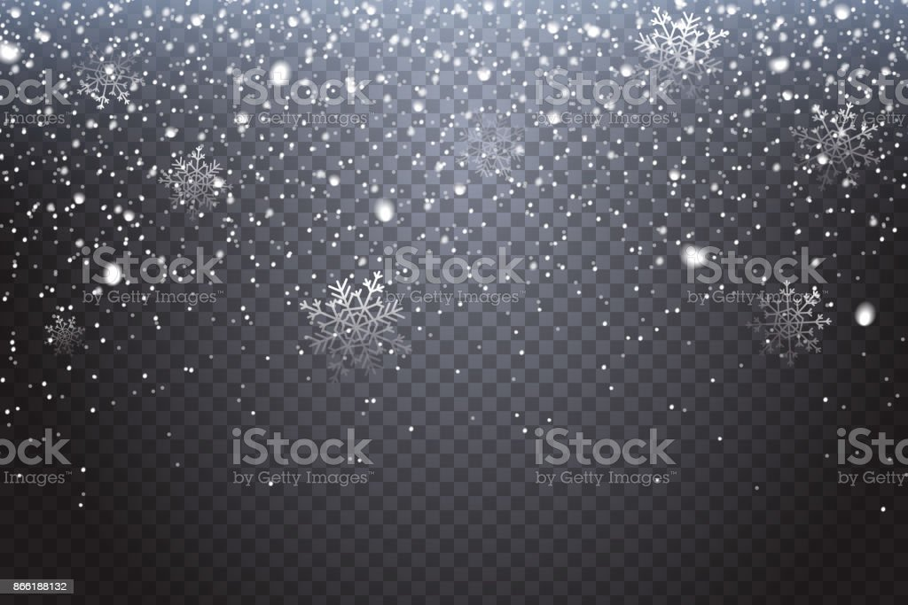 First snow. Realistic falling snowflakes isolated on transparent background. Winter decoration element for your christmas design. Vector illustration. vector art illustration