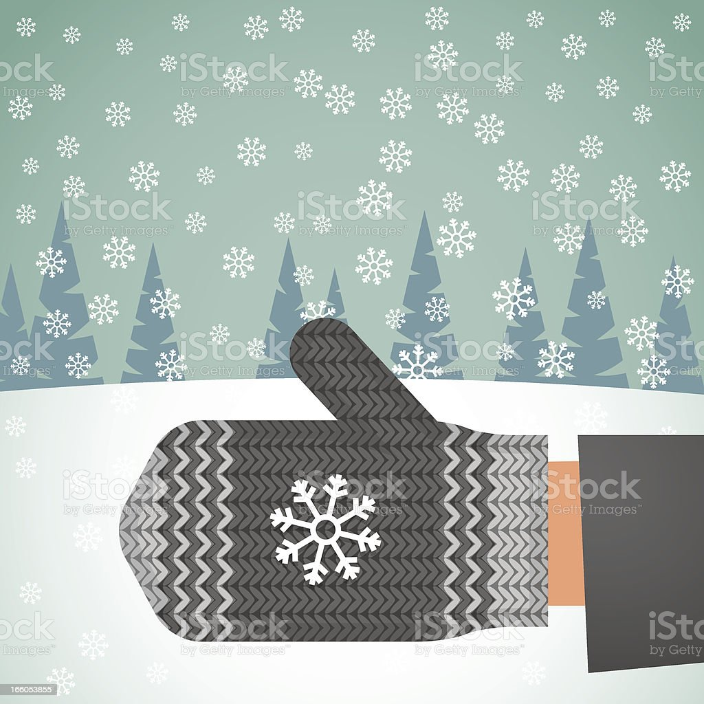 illustration of catching a snowflake with mitten