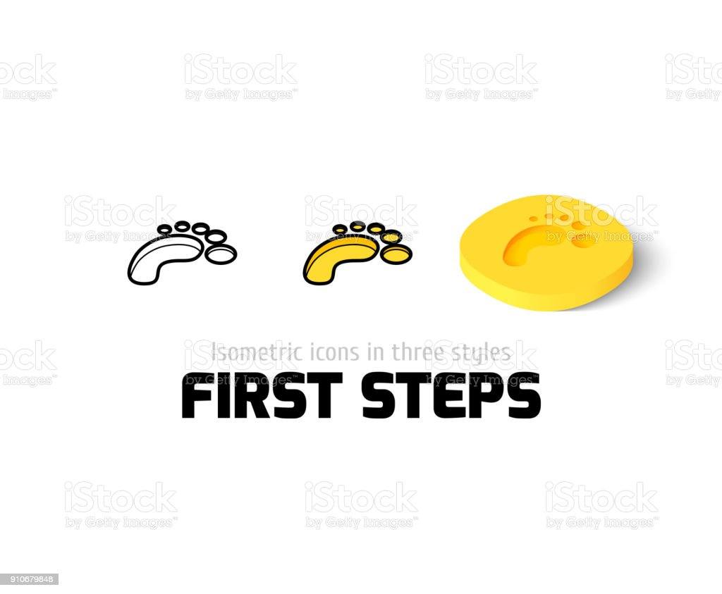 First steps icon in different style vector art illustration