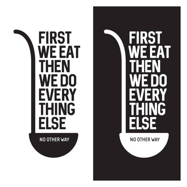 zuerst essen wir typografie-küche-poster. vintage vektorgrafik. - retroküchen stock-grafiken, -clipart, -cartoons und -symbole