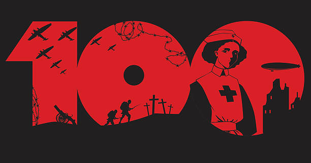 First World War centenary World War One Centenary design with black silhouettes  anniversary silhouettes stock illustrations