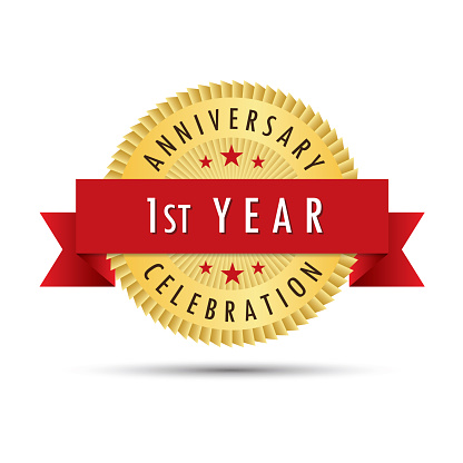 First Year Anniversary Celebration Icon Logo Stock Illustration Download Image Now Istock