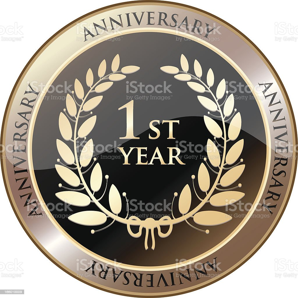 First Year Anniversary Celebration Shield royalty-free stock vector art