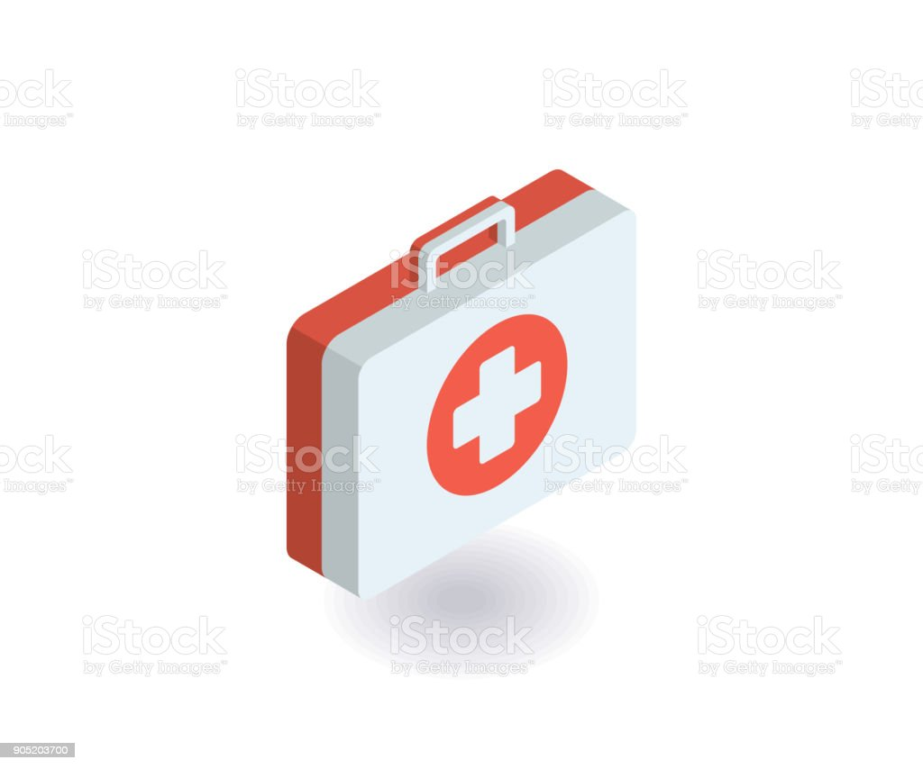 First-aid kit, medicine chest icon. Vector illustration in flat isometric 3D style. vector art illustration