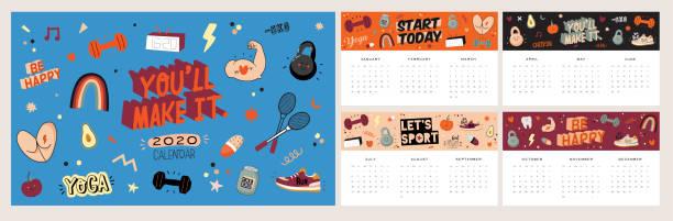 bildbanksillustrationer, clip art samt tecknat material och ikoner med firthet väggkalender. 2020 års planerare har alla månader. - calendar workout
