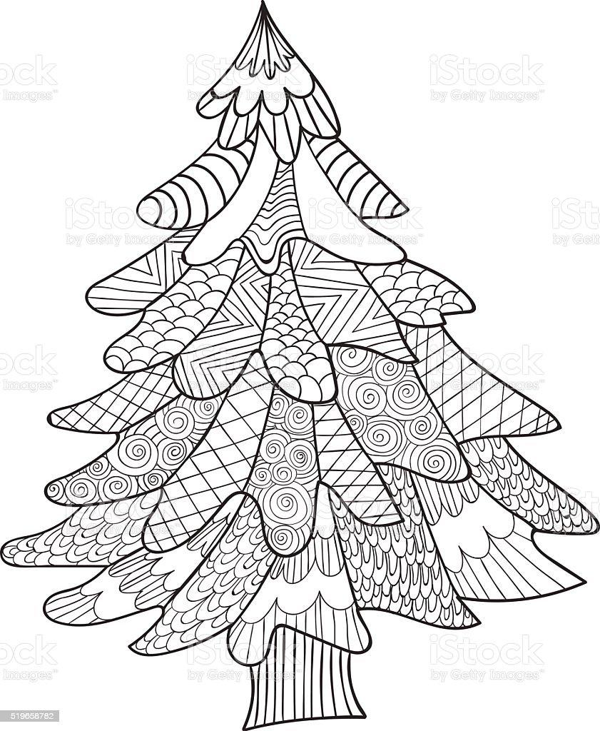 Ilustración de árbol De Abeto Para Colorear Reserve Página Para ...