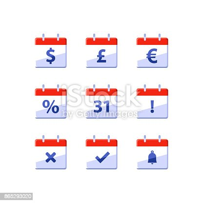 Fiscal Year Financial Calendar Dollar Sign Monthly Income