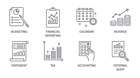 Fiscal year vector icons. Business finance company signs. Editable stroke. Financial reporting budgeting statement revenue. Calendar accounting external audit tax.