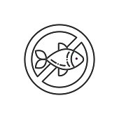 Fish allergy line color icon. Allergenic ingredient. Food intolerance. Sign for web page, mobile app, button, logo. Vector isolated element. Editable stroke.