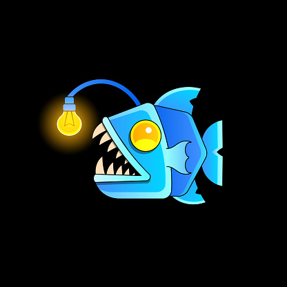 Fish an angler bares its sharp fangs. Cartoon fish isolated on a background. Vector