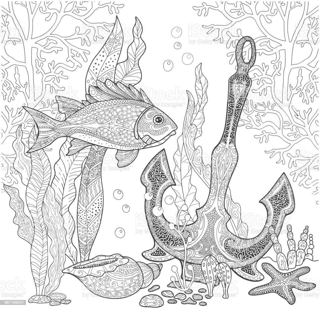 Balık Ve çapa Gemi Ve Kabukları Deniz Dibinin Boyama Kitabı Sayfa