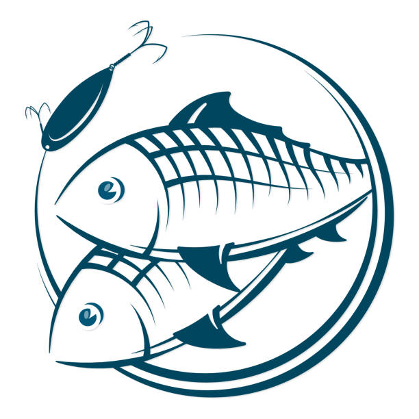 fish and bait silhouette - redfish stock illustrations, clip art, cartoons, & icons