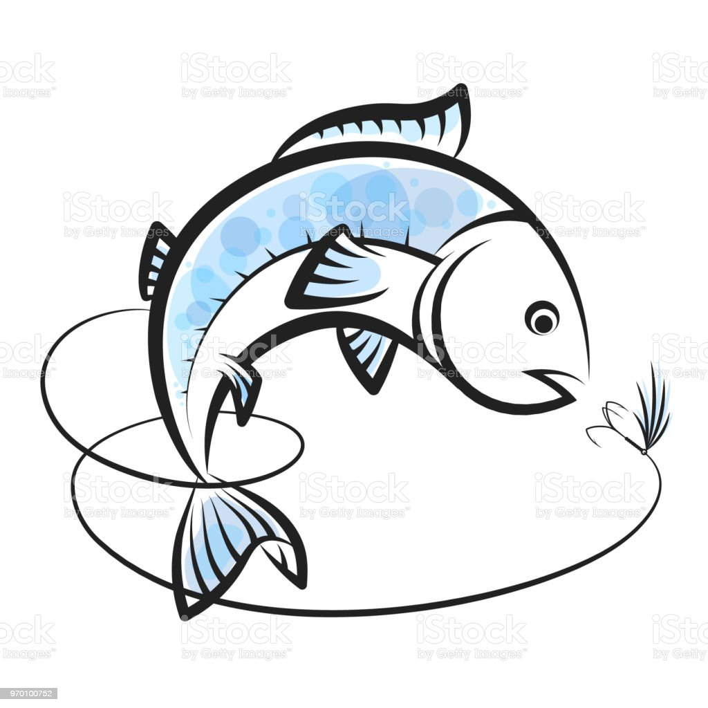 Fish and bait with fishing line vector art illustration