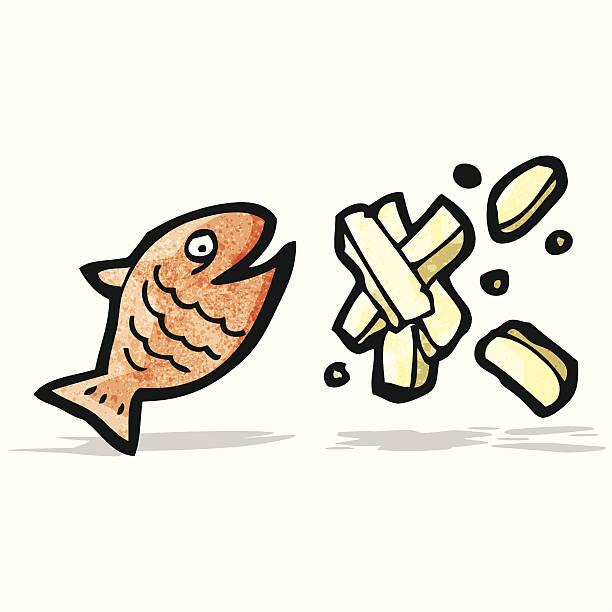 fish and chips cartoon vector art illustration