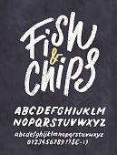 Fish and Chips. Menu template. Vector hand drawn illustration.