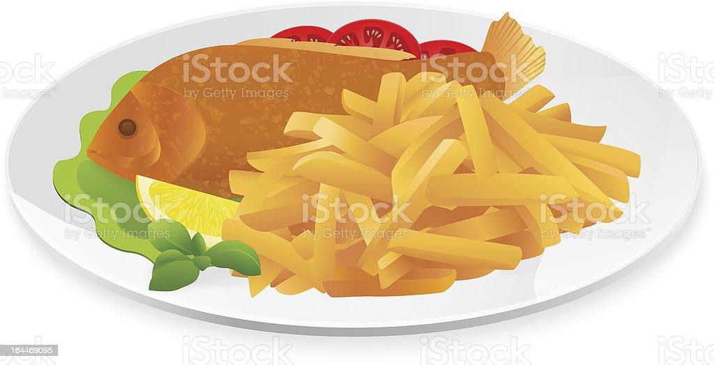 Fish and Chips (French fries) on a plate. Isolated vector royalty-free fish and chips on a plate isolated vector stock vector art & more images of adulation