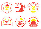 fish and chips retro badge design vector illustration with Cot fish,lemon,plastic fork,fire and french fries