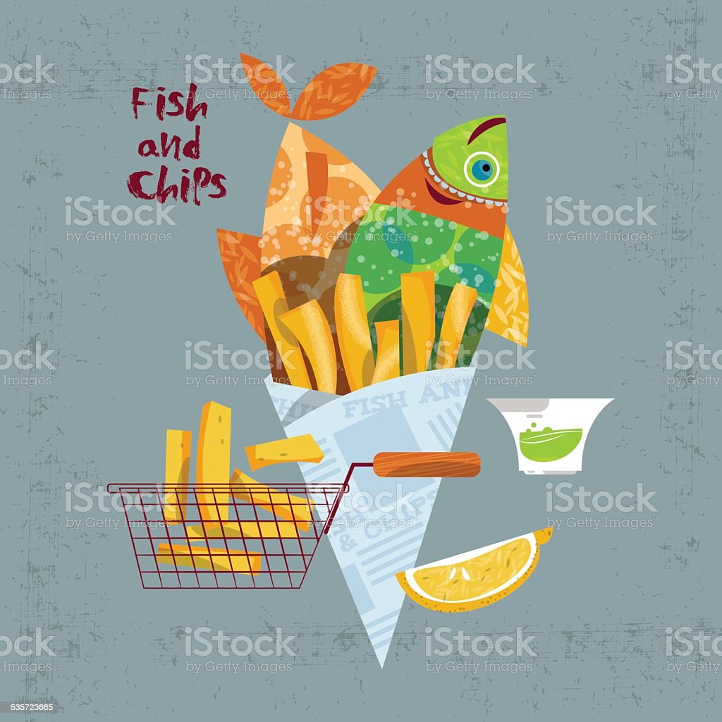 Fish and chips. vector art illustration