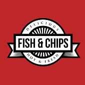 Fish and Chips vintage stamp