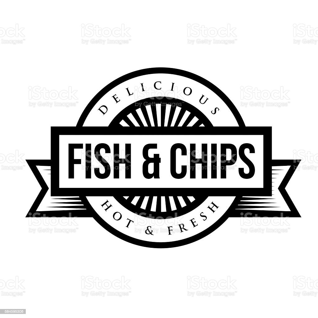 Fish and chips vintage stamp stock vector art more for Fish and more