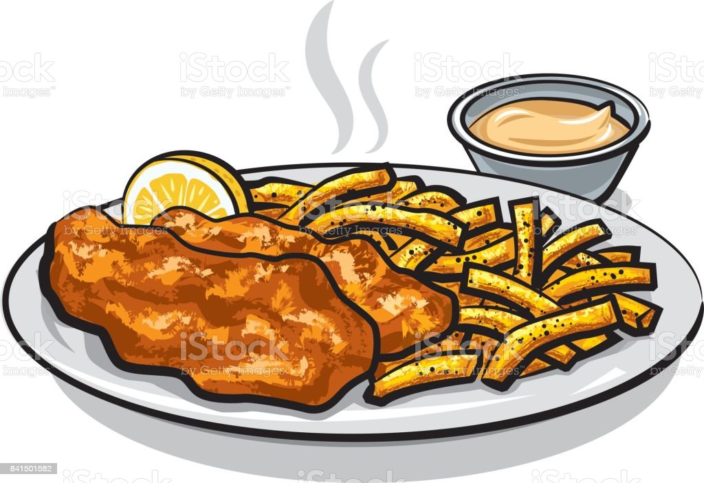 fish and chips with sauce vector art illustration
