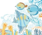 Fish and corals vector illustration