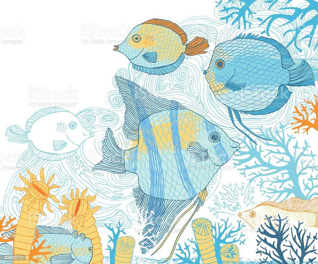 Fish and corals vector illustration vector art illustration