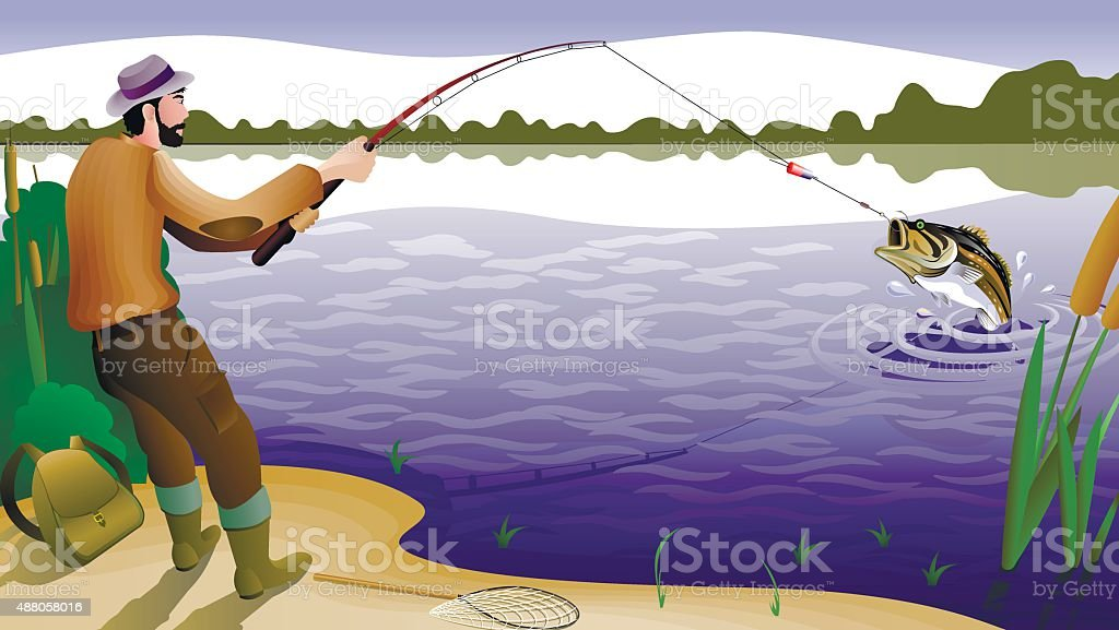 fish and fisherman stock illustration download image now istock https www istockphoto com vector fish and fisherman gm488058016 73940941