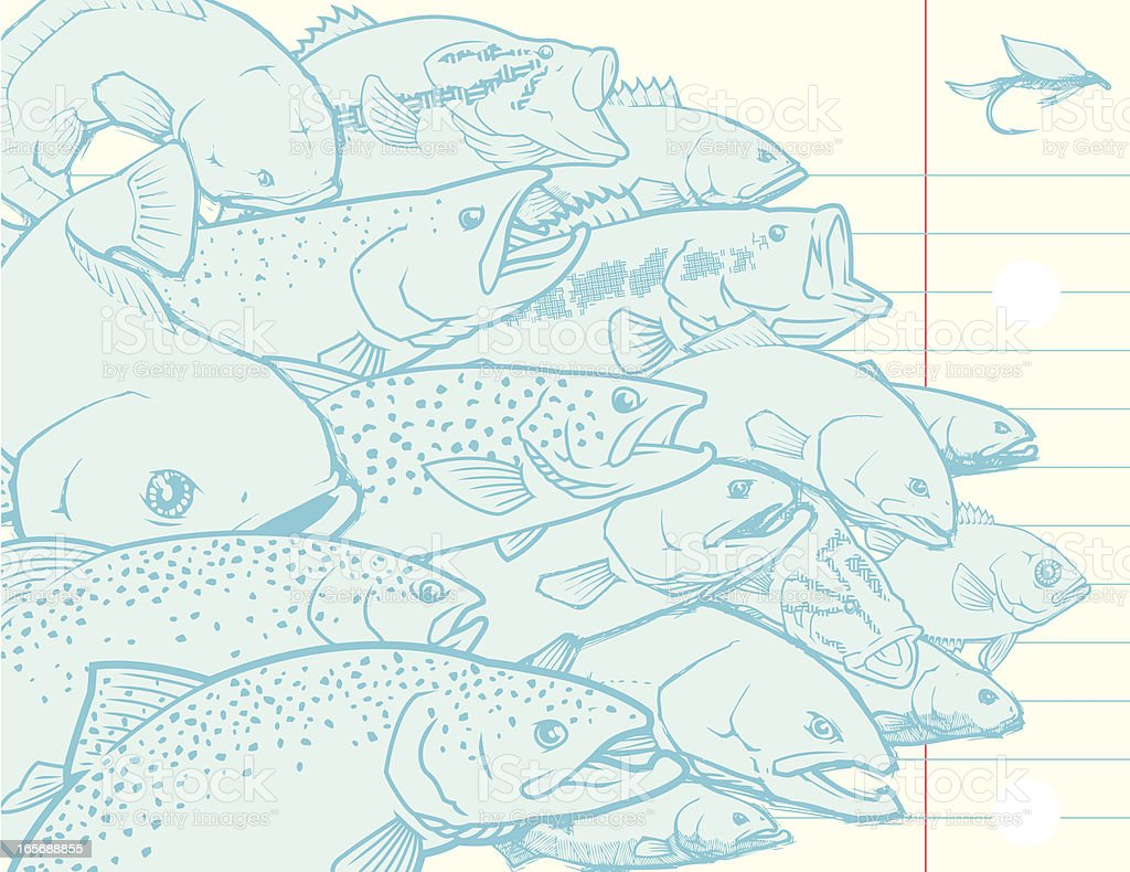 Fish and Fishing collage vector art illustration