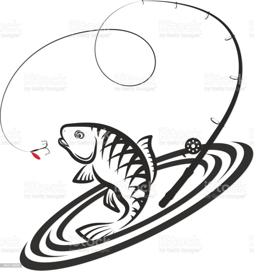 Fish and fishing rod jumping silhouette vector art illustration