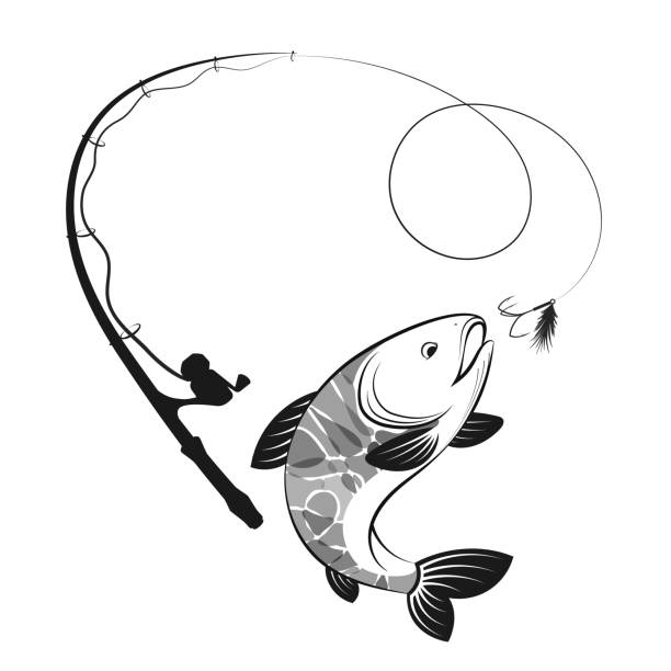 Fish and fishing rod silhouettes Fish and fishing rod are silhouetted for fishing fishing line stock illustrations