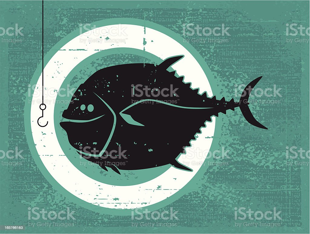 fish and hook silhouette vector art illustration