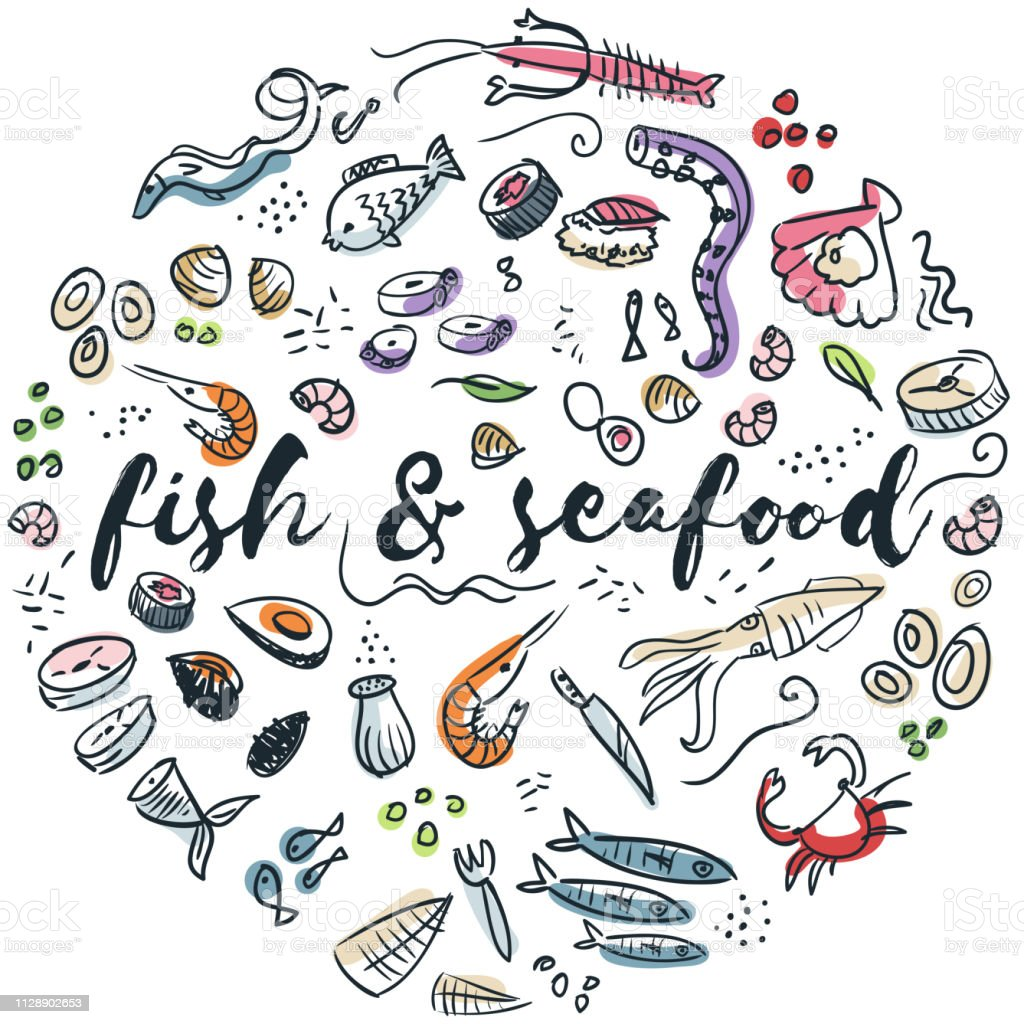 Fisch und Meeresfrüchte hand gezeichnete design – Vektorgrafik