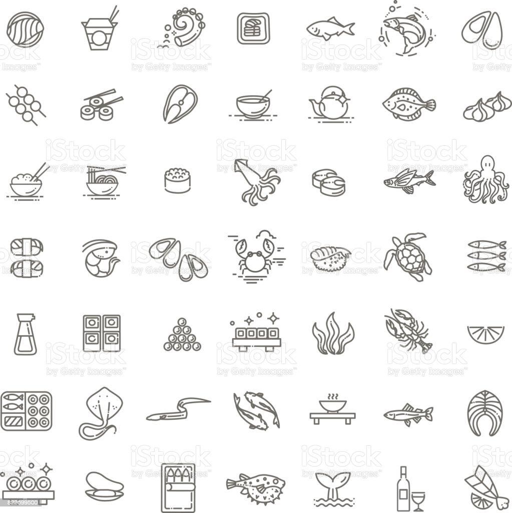Pescados y mariscos - colección de iconos de contorno, vector de la carta del restaurante - ilustración de arte vectorial