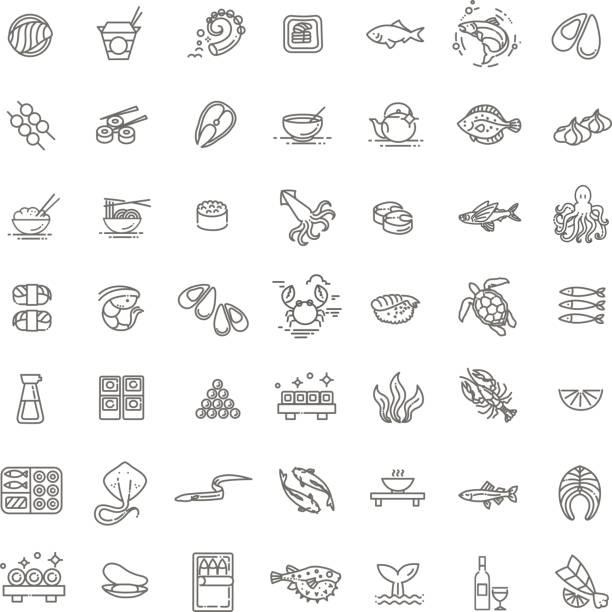 レストランのメニューの魚や魚介類 - 概要アイコンのコレクション、ベクトル - 魚介類点のイラスト素材/クリップアート素材/マンガ素材/アイコン素材