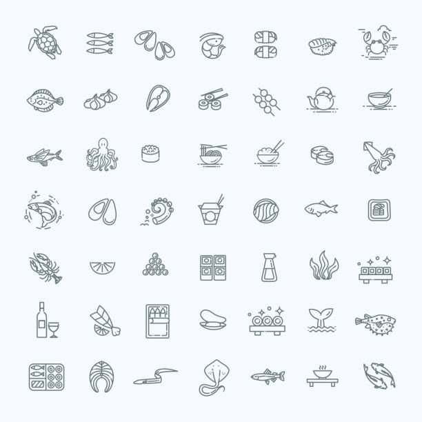 fish and seafood - outline icon collection, vector for restaurant menu - delis stock illustrations