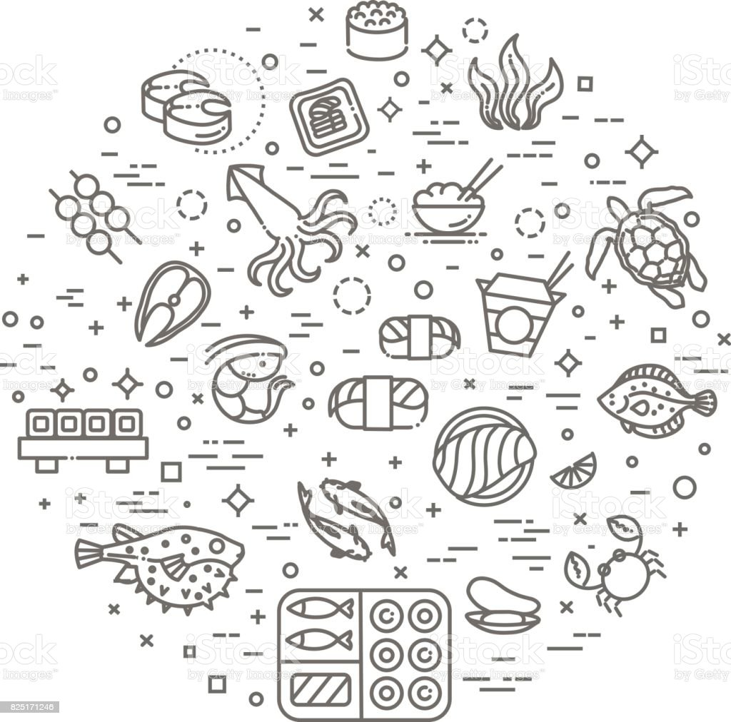 Fish and seafood - outline icon collection, vector for restaurant menu vector art illustration