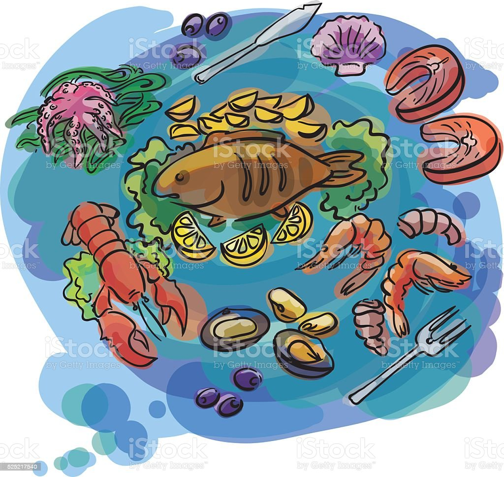 Fish and seafood set illustration vector art illustration